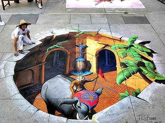 Dibujos anamorficos en el suelo magic optical illusions - Arte en el piso 3d ...